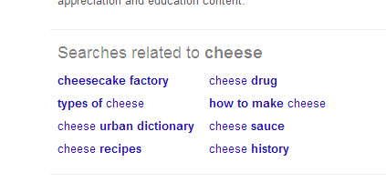 Screenshot of suggested searches in Google for the term cheese