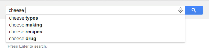 Screenshot of Google autocomplete suggestions for the word cheese