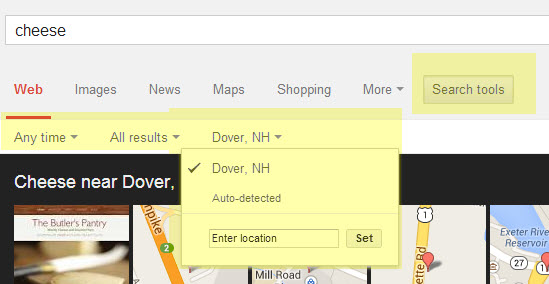 Screenshot of Google Search Tools options highlighted in yellow