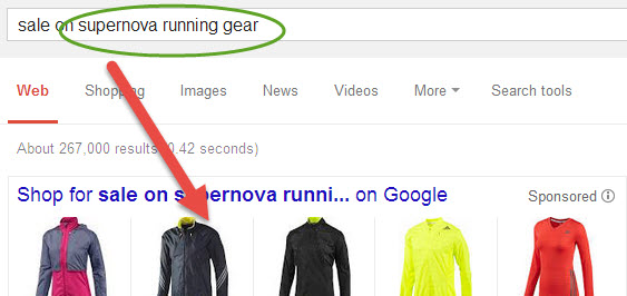 Google search containing supernova running gear shows jackets as the primary result