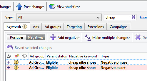 Example of searching negative keywords inside of AdWords Editor