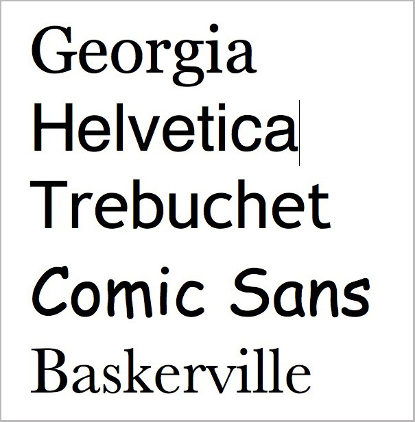 Baskerville vs. the rest of the fonts.