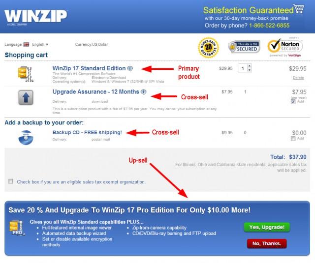 Winzip's upselling example.