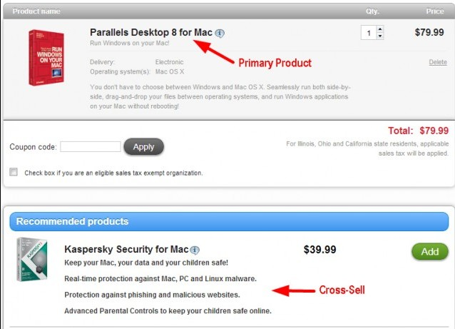 Parallels Desktop cross-sell example.