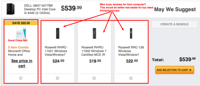 NewEgg Cross Sell example.