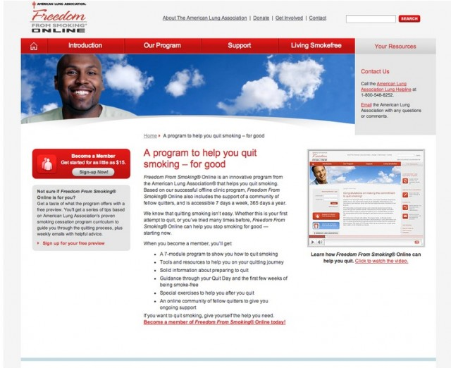 American Lung Association Landing Page