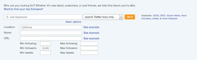 Followerwonk Bio Section search.
