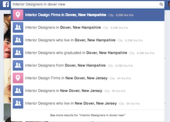 searching for interior designers on facebook.