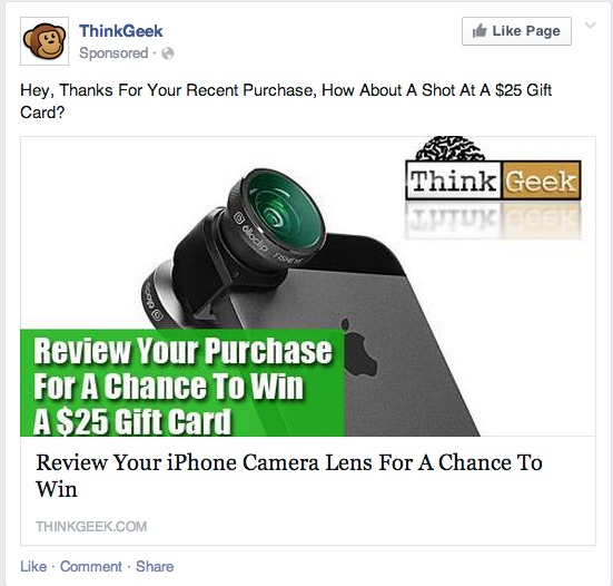 Retargeting Facebook ad from ThinkGeek.