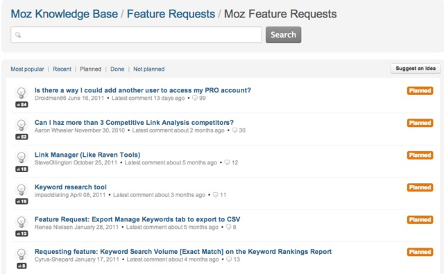 Moz Help   Moz Feature Requests