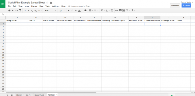 Social Filter Example SpreadSheet Google Sheets