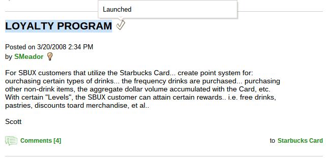original forum suggestion for starbucks loyalty program.