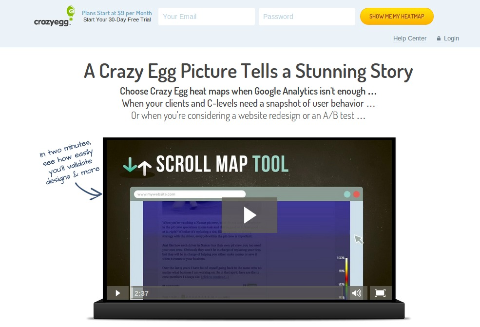 Screenshot of CrazyEgg.com
