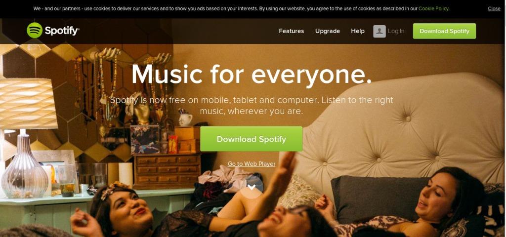 Screenshot of Spotify.com