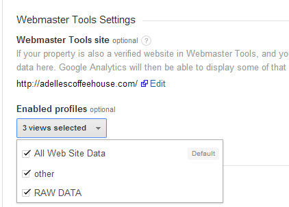 You can authorize or remove multiple Views after setting up Webmaster Tools connection