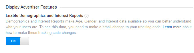 Enable Demographics & Interests Reports