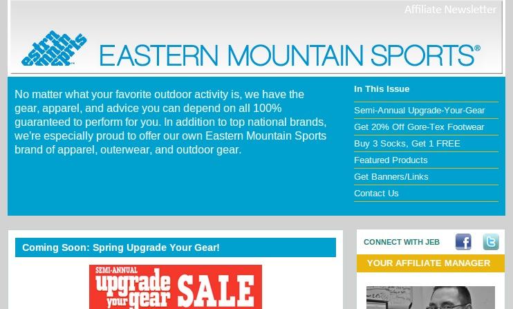 Eastern Mountain affiliate newsletter.