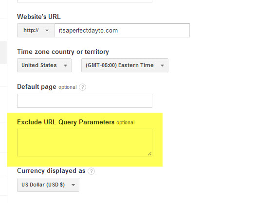 Exclude URL Query Parameters field on the View Settings page