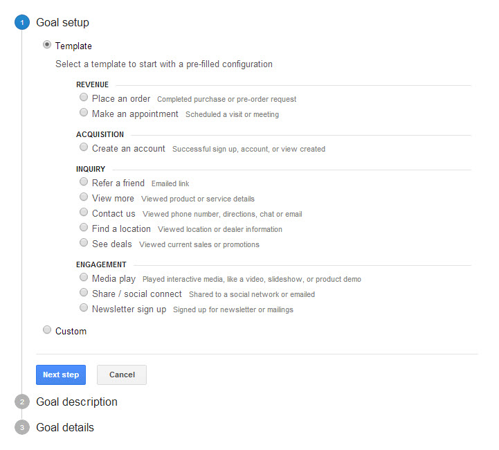 Goal configuration step 1 templates and options