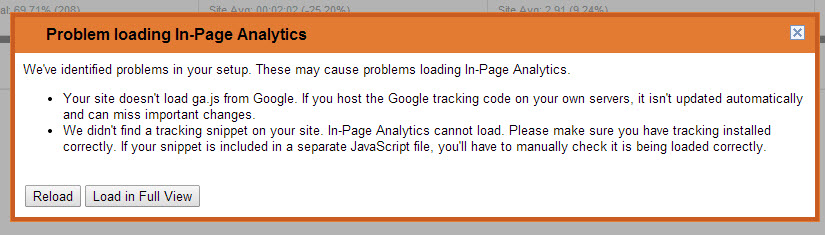 Problem Loading In-Page Analytics