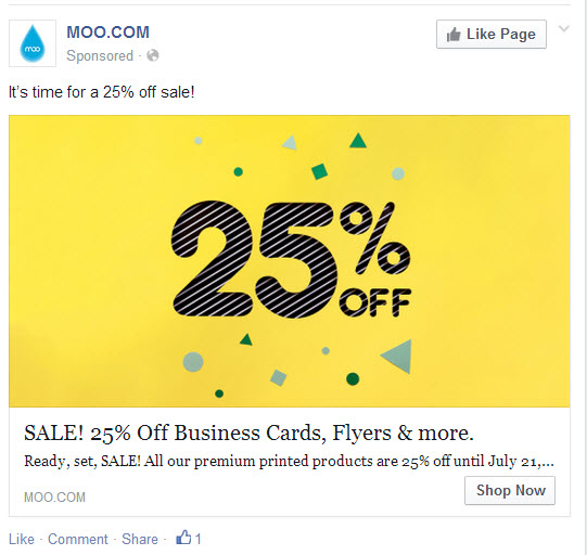 Example Moo.com ad from Facebook
