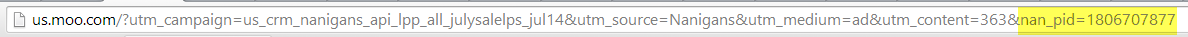 example of custom url parameter.
