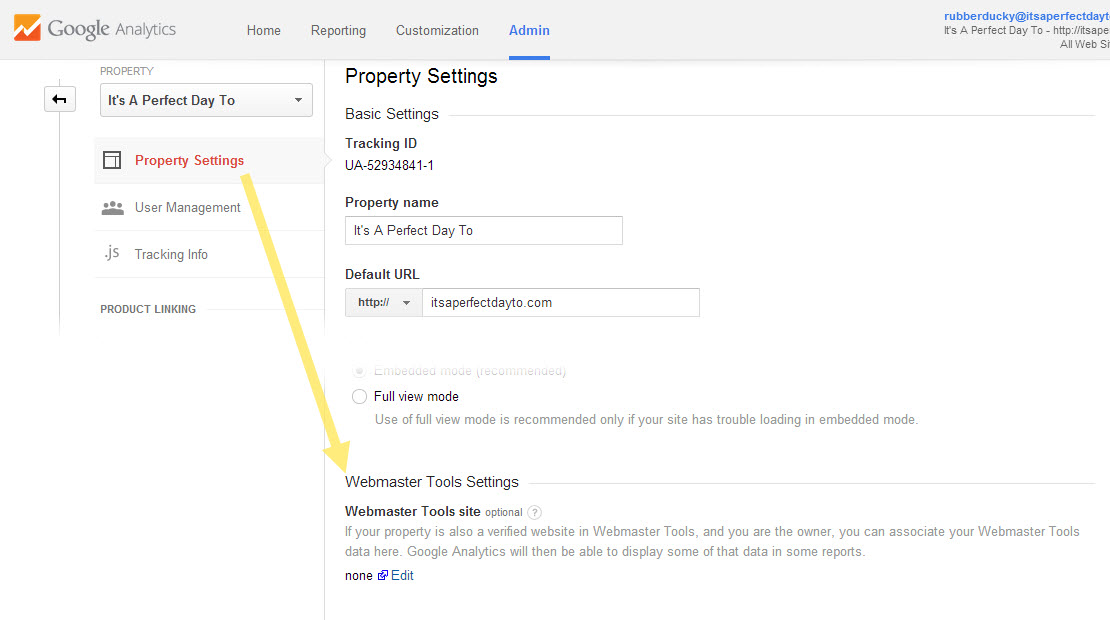 Turn on Webmaster Tools connection from the Property Settings page