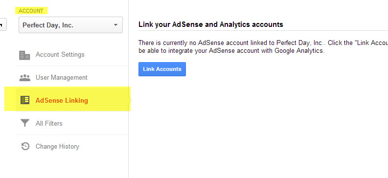 Link your AdSense account to your Analytics from the Account level of the Admin section