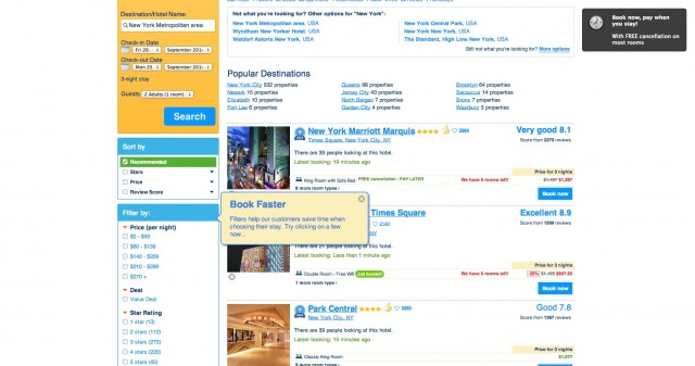 Booking search results