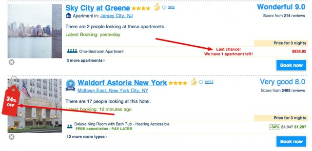 Booking search results 2