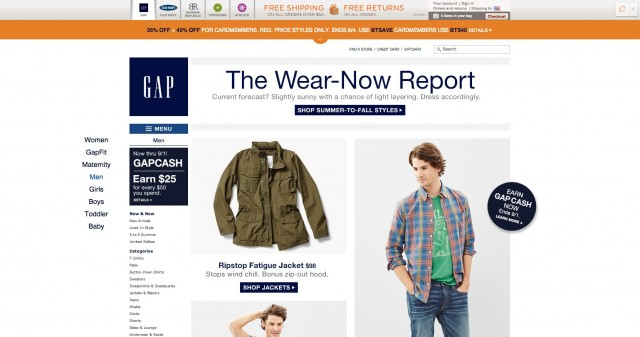 Gap Men Search Bar