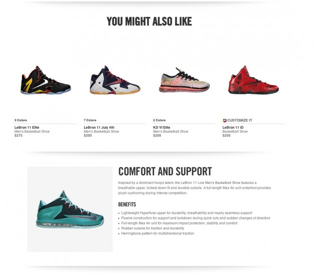 Nike Product Page Additional Information