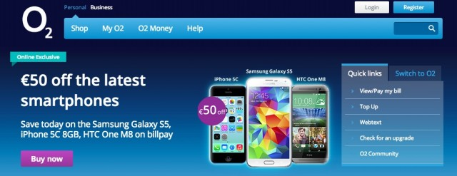 O2 Ireland Prepay mobile phones Bill Pay mobile phones and mobile broadband