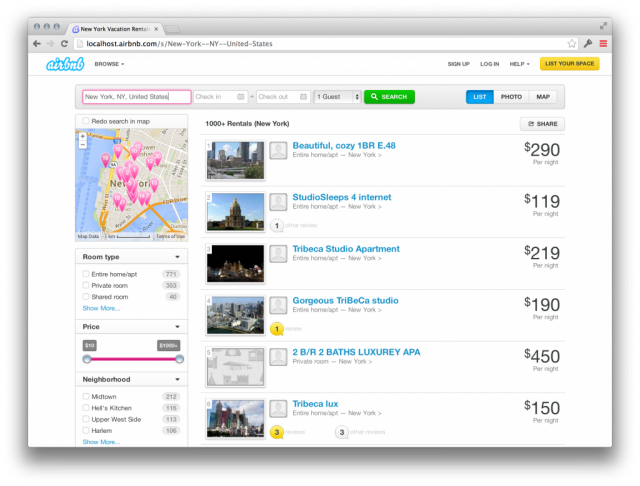 Old AirBnB Search Results Page