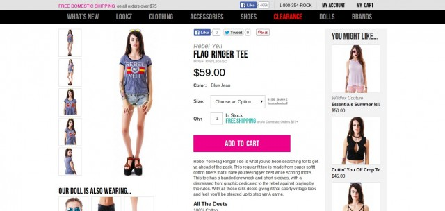 Rebel Yell Flag Ringer Tee Dolls Kill