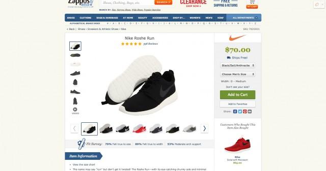 nike running shoe on Zappos