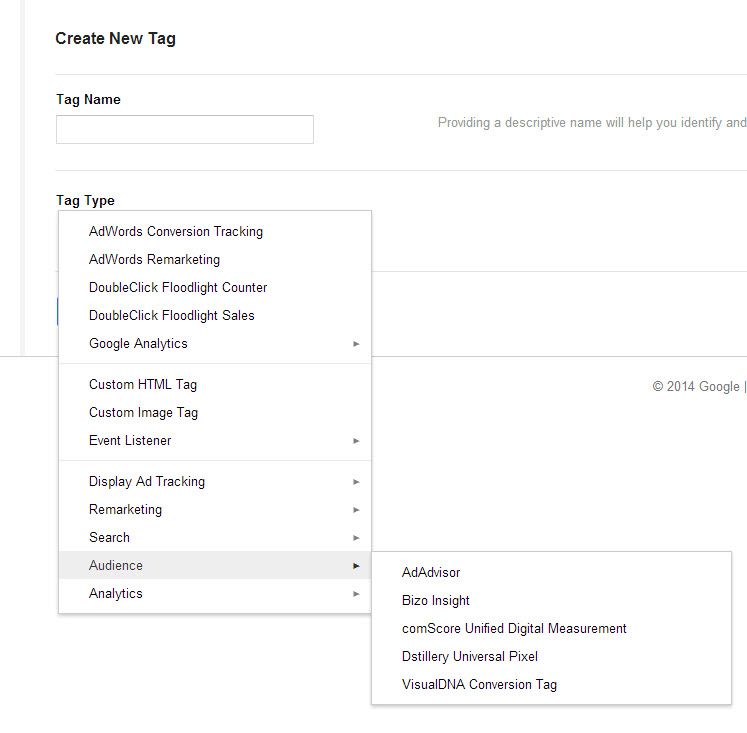 Example GTM menu of template based tags