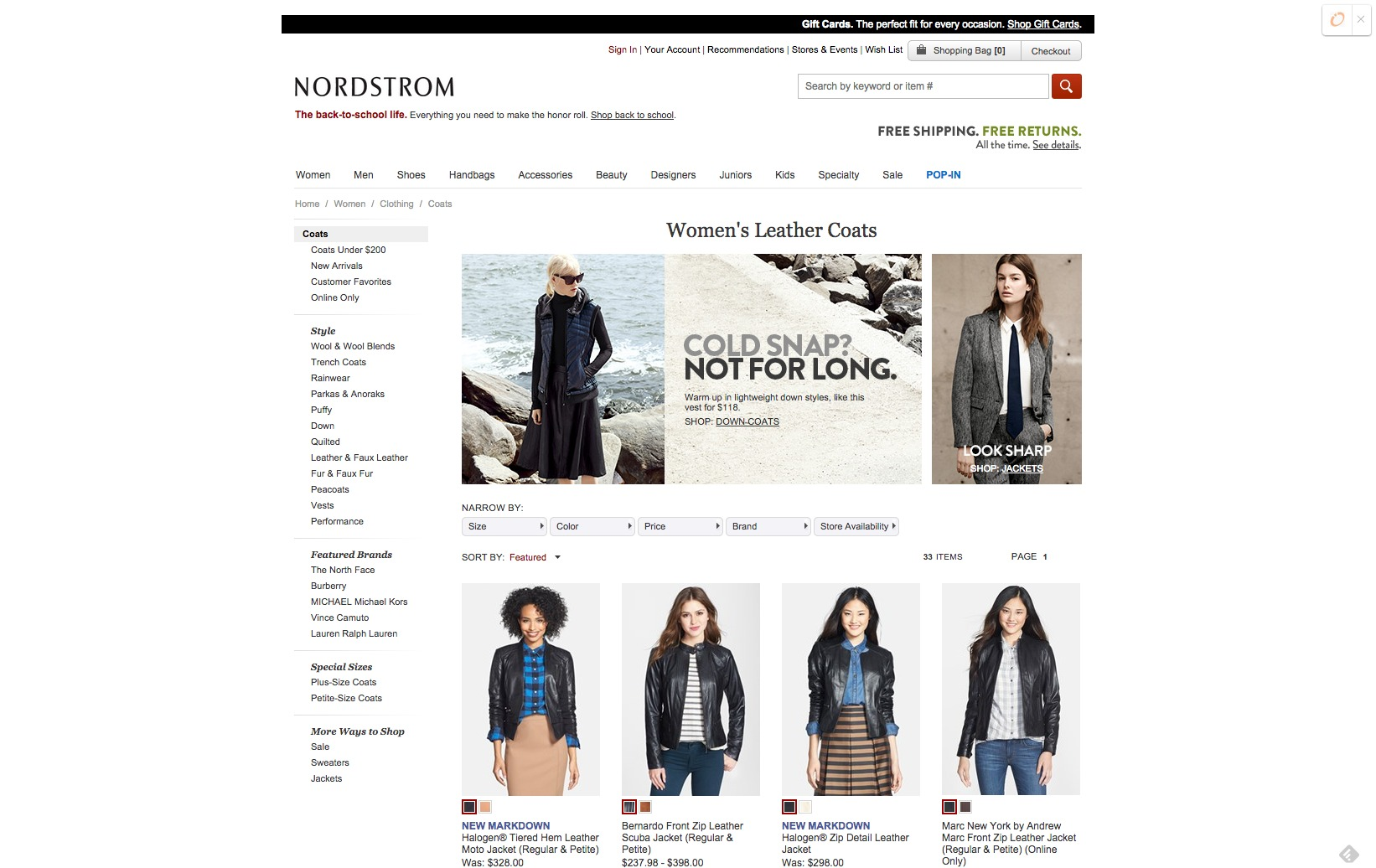 Nordstorm Category Page