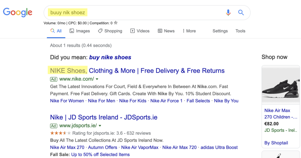 Example of misspellings in Google search that still display relevant ads.