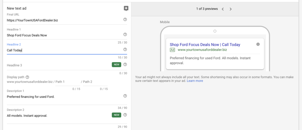 Example of a well-written text ad in Google Ads.