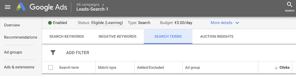 Example of where to find the search terms report in Google Ads.