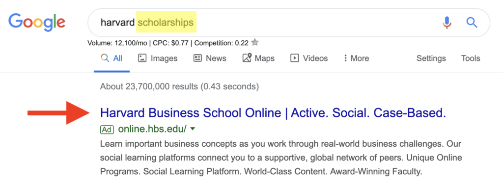 An example of low correlation between a search term and a search ad's landing page.