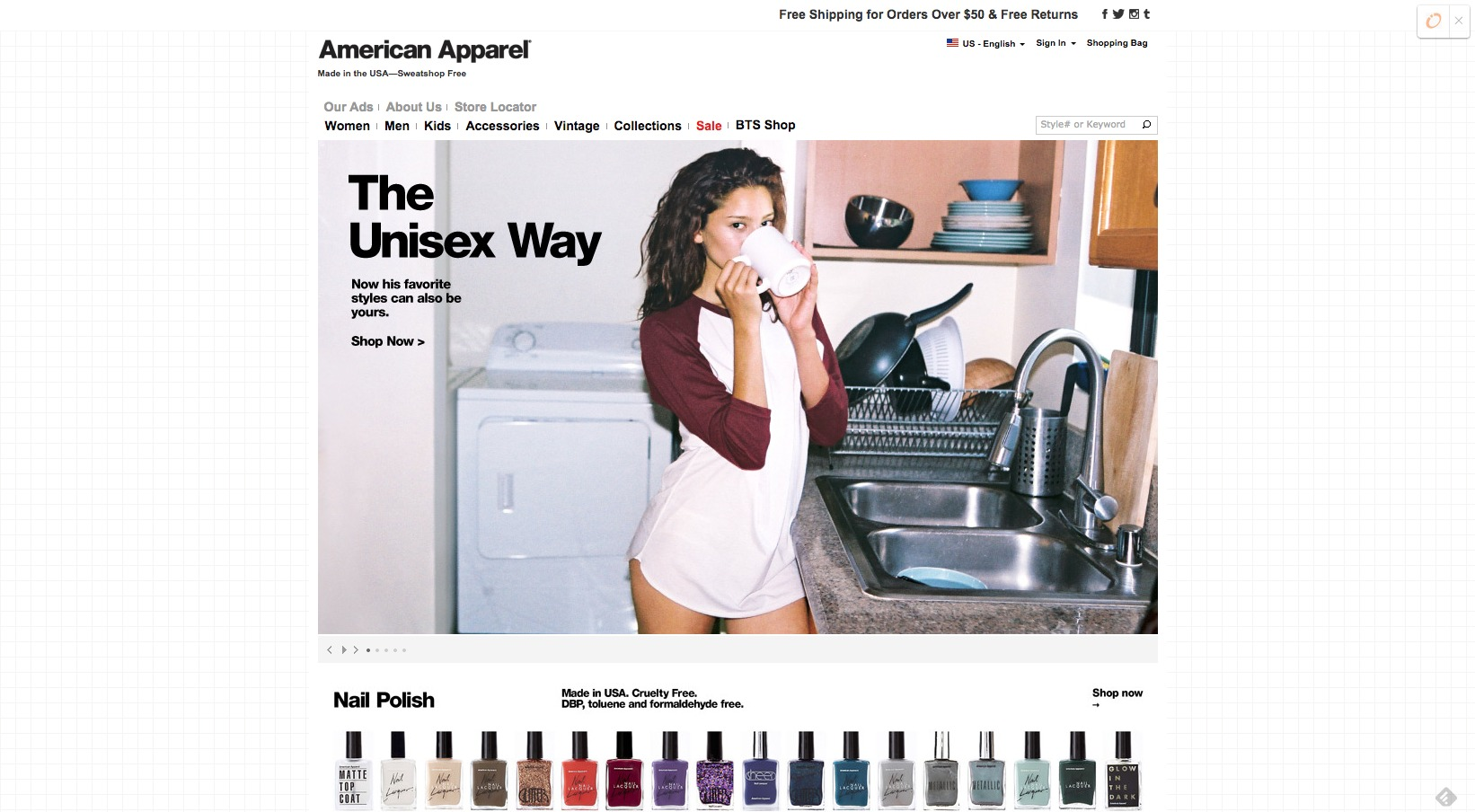 Shop American Apparel Online   Free Shipping for Orders Over  50