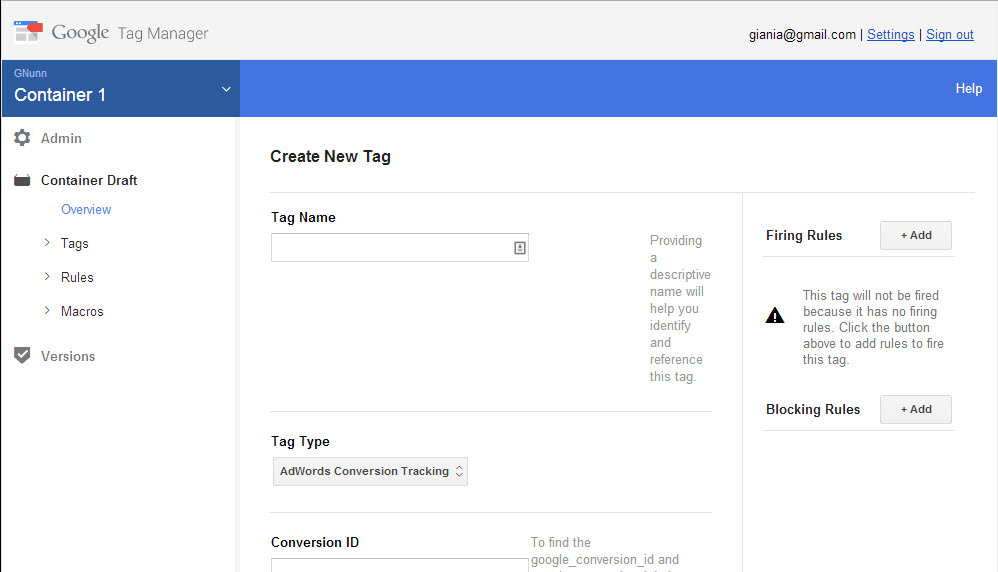 Google Tag Manager new tag creation menu