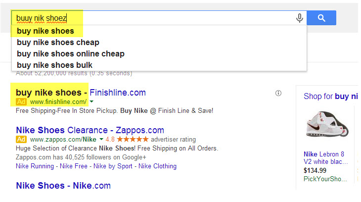Example of a search query with a misspelling matching correctly spelled ads