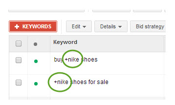 Highlighted example keywords showing modified terms inside a broad keyword