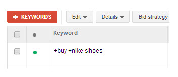 Example of a modified broad keyword inside the AdWords interface