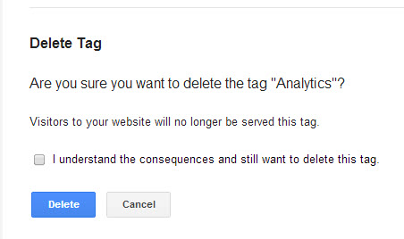 Tag deletion confirmation