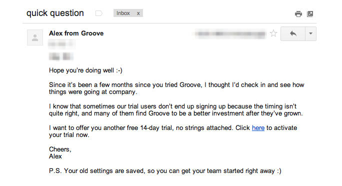 Groove's email to users who didn't end up signing up.