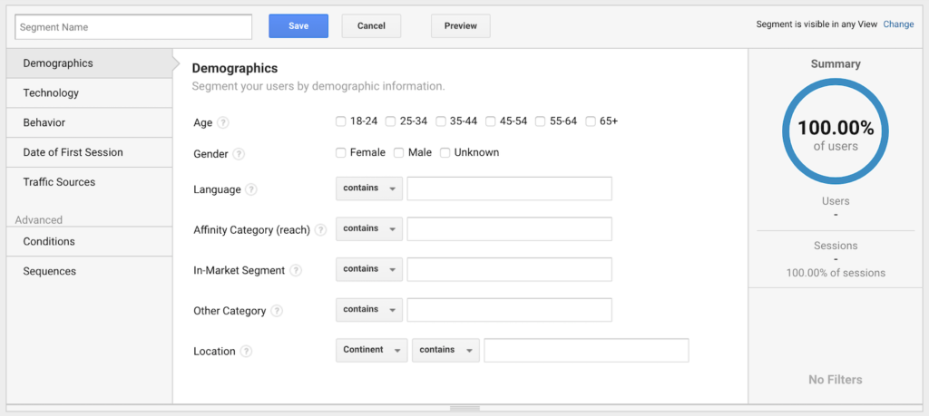 Creating a new segment on Google Analytics.